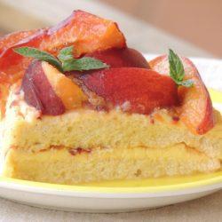 Torta con Crema al Limone e Pesche Senza Glutine 100% naturale