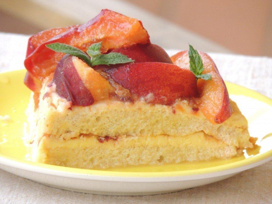 Torta con Crema al Limone e Pesche Senza Glutine