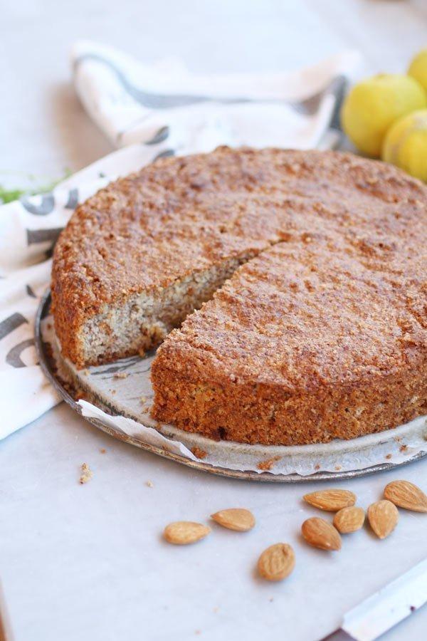 Torta Caprese al Limone Senza Zucchero con mandorle e limone