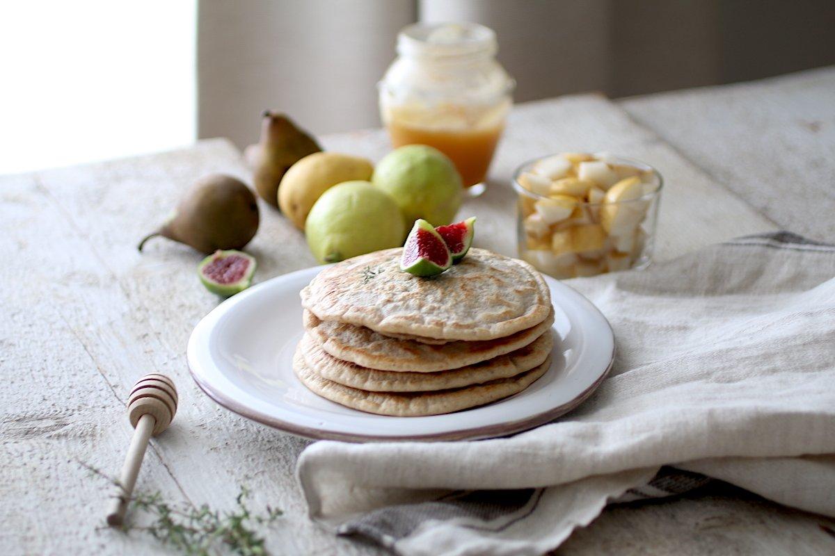 Pancakes con Lievito Madre, Limone e Olio Extravergine di Oliva